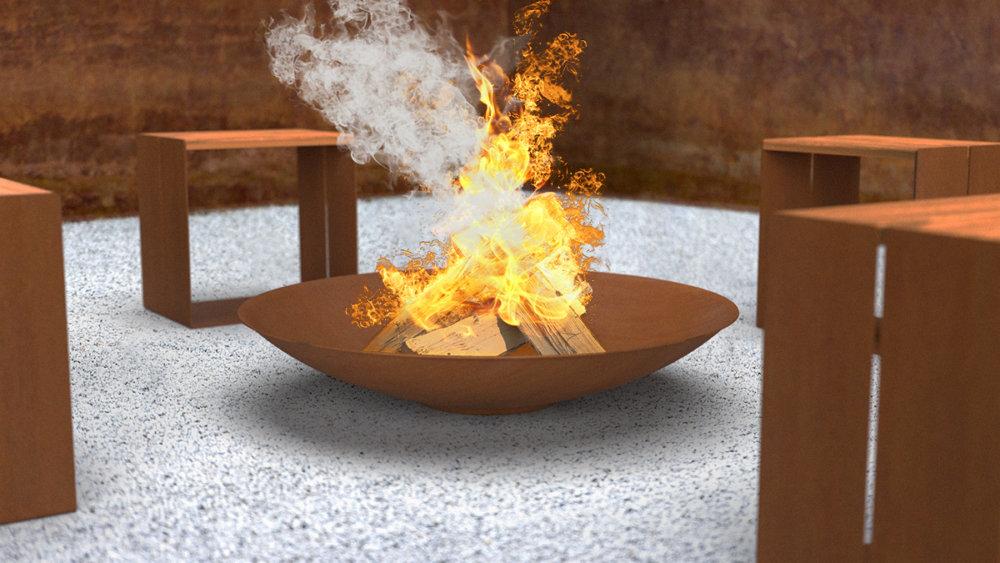 Mísa Corten s ohněm a stoličkami
