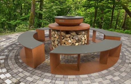 Gril KEDAR Prim - griloviště včetně dřevníku a lavic